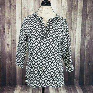 JM Collection linen embellished 3/4 sleeve top